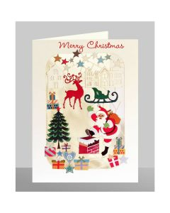 Santa going down the Chimney - Merry Christmas  - XP65 - Laser Cut Christmas Card