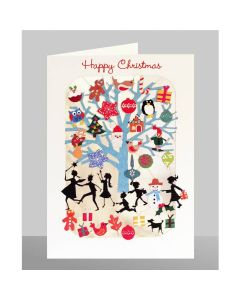 Children and blue Tree - Happy Christmas XP69 - Laser Cut Christmas Card