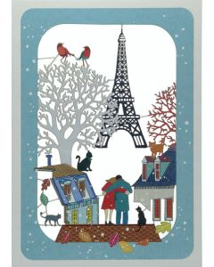 Eiffel Tower and Couple - XP82 - Laser Cut Christmas Card