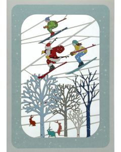 Santa and Skiers over Trees - XP84 - Laser Cut Christmas Card