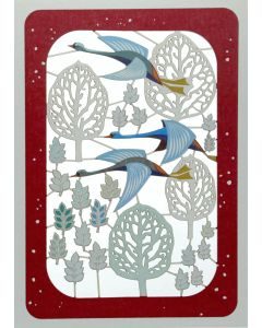 Flying Birds and Trees  - XP85 - Laser Cut Christmas Card