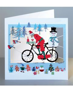 Forever Cards Santa on a Bike with Snowman Christmas Card
